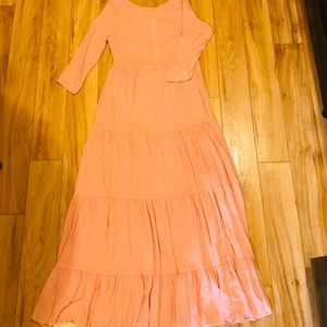 Urban Outfitters Long Salmon Peasant Dress SZ M